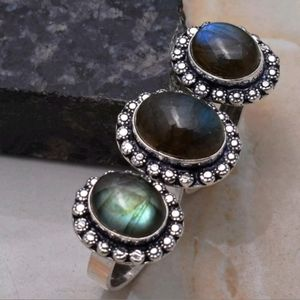 New Labradorite Double 925 Silver Knuckle Ring.